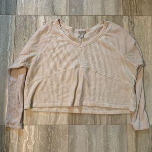 Cream waffle knit long sleeve